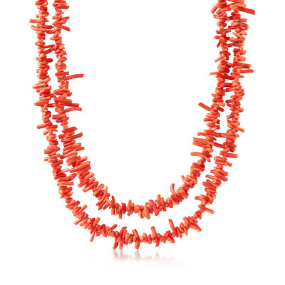 C. 1970 Vintage Endless Coral Beaded Necklace, , default