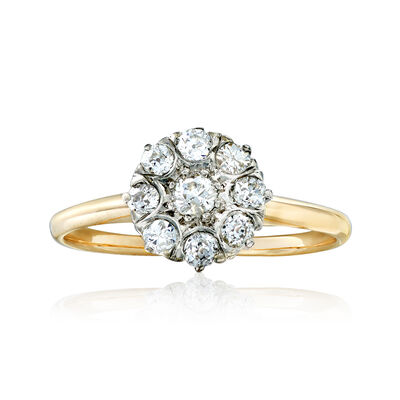 C. 1930 Vintage .30 ct. t.w. Diamond Floral-Motif Ring in 18kt Two-Tone Gold, , default