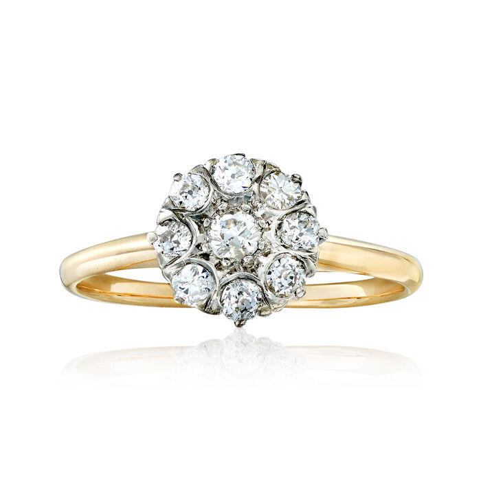 C. 1930 Vintage .30 ct. t.w. Diamond Floral-Motif Ring in 18kt Two-Tone Gold. Size 6, , default