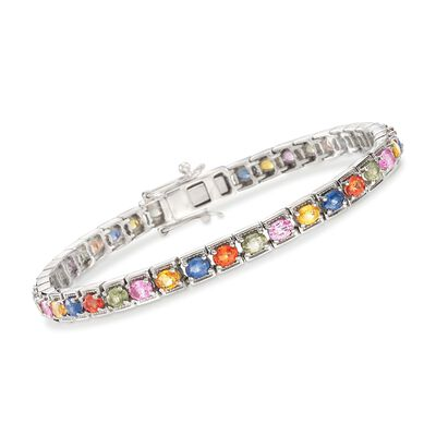 8.00 ct. t.w. Multicolored Sapphire Tennis Bracelet in Sterling Silver, , default