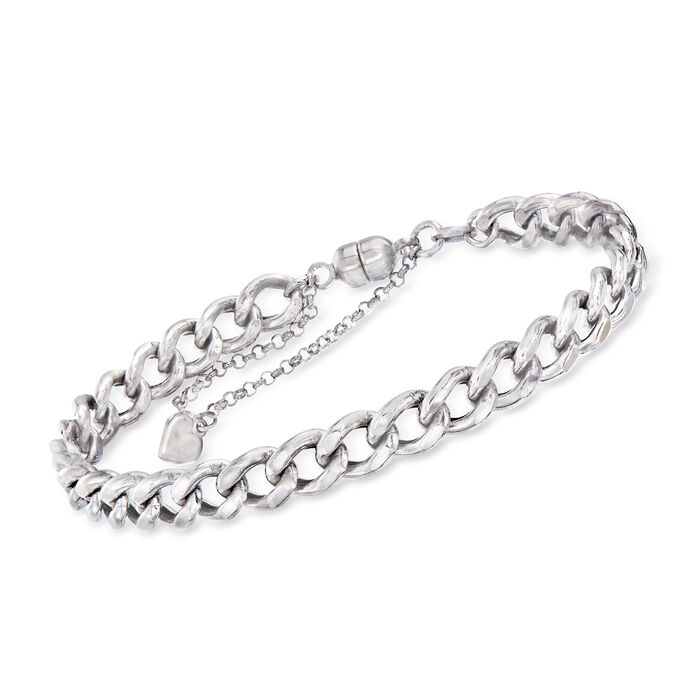 Italian Sterling Silver 6.3mm Curb-Link Bracelet with Magnetic Clasp