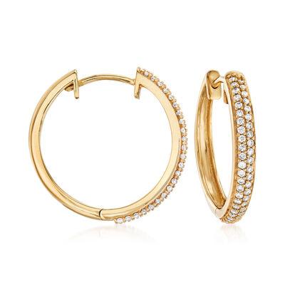 .34 ct. t.w. Diamond Hoop Earrings in 18kt Gold Over Sterling, , default