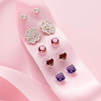 2.80 ct. t.w. Garnet Heart Stud Earrings in Sterling Silver