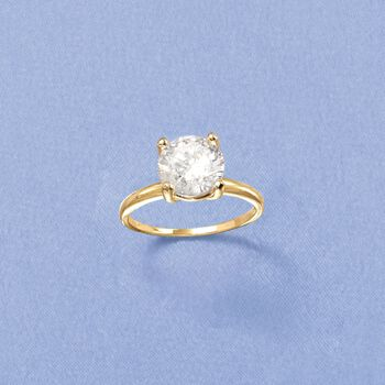 3.00 Carat CZ Solitaire Ring in 14kt Yellow Gold, , default