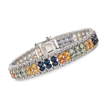 """18.00 ct. t.w. Multicolored Sapphire and 1.15 ct. t.w. Diamond Bracelet in Sterling Silver. 7"""", , default"""