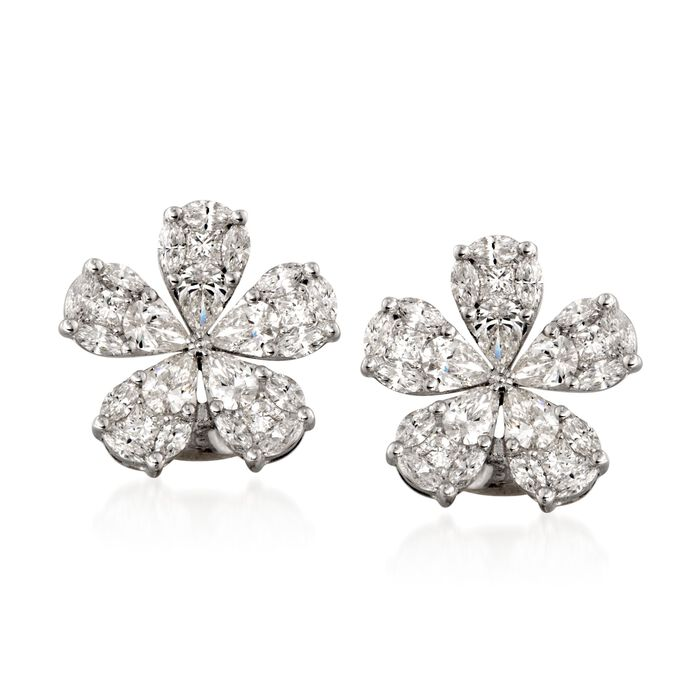 Simon G. 2.32 ct. t.w. Floral Diamond Stud Earrings in 18kt White Gold