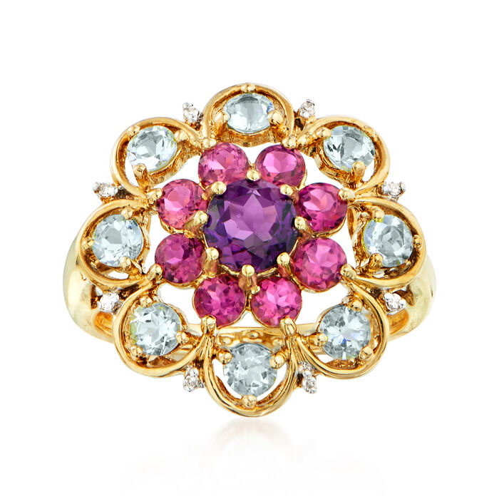C. 1990 Vintage 2.15 ct. t.w. Multi-Gemstone Flower Ring in 14kt Yellow Gold. Size 8, , default