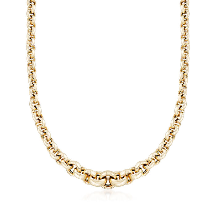 """Italian 14kt Yellow Gold Graduated Link Necklace. 18"""", , default"""