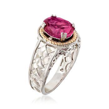 2.70 Carat Mystic Berry Quartz Basketweave Ring in 14kt Gold and Sterling Silver, , default