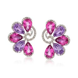 9.00 ct. t.w. Pink Topaz and 5.50 ct. t.w. Amethyst Fan Earrings With .10 ct. t.w. Diamonds in Sterling Silver, , default