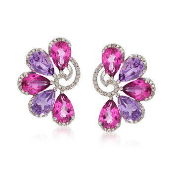 9.00 ct. t.w. Pink Topaz and 5.50 ct. t.w. Amethyst Fan Earrings With .10 ct. t.w. Diamonds in Sterling Silver, , default