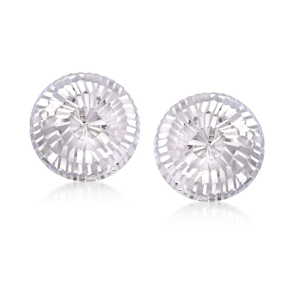 3e50e6405 Italian 14mm Sterling Silver Diamond-Cut Dome Earrings | Ross-Simons