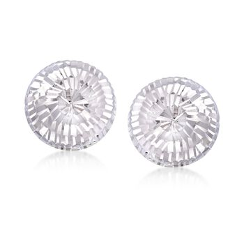 Italian 14mm Sterling Silver Diamond-Cut Dome Earrings, , default