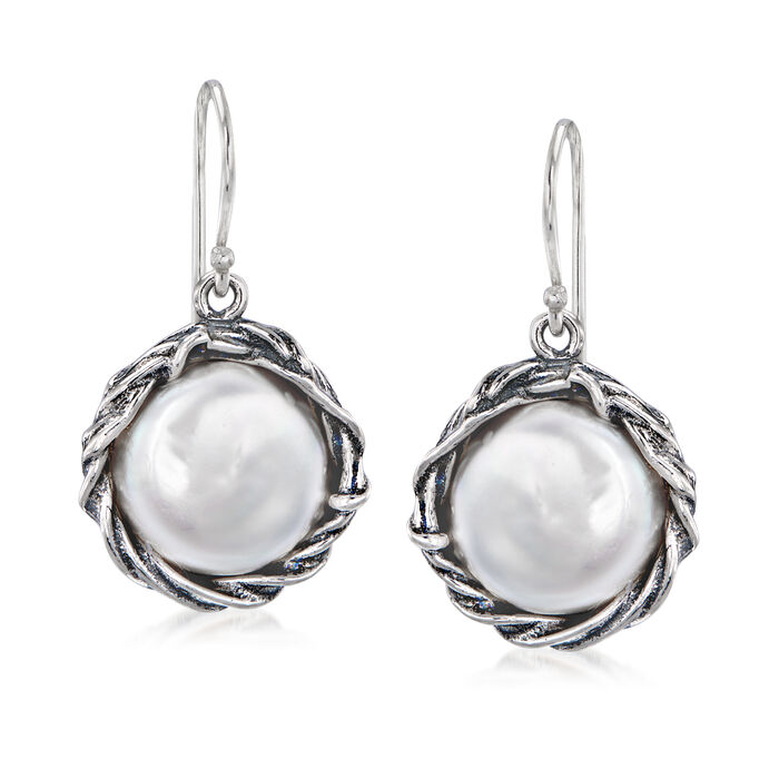 14mm Cultured Baroque Coin Pearl Drop Earrings in Sterling Silver