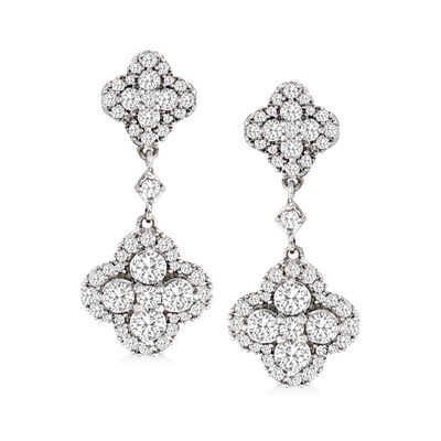 1.50 ct. t.w. Diamond Clover-Shaped Drop Earrings in Sterling Silver