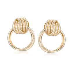 Italian 14kt Gold Over Sterling Silver Doorknocker Earrings, , default