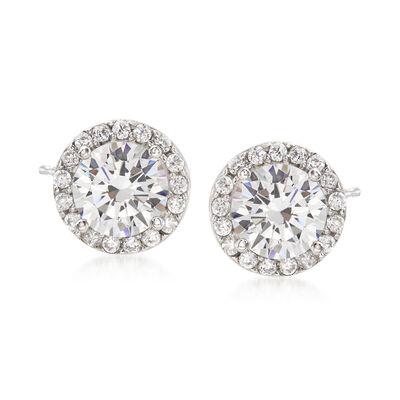 3.25 ct. t.w. CZ Halo Earrings in Sterling Silver, , default
