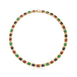"C. 1980 Vintage 37.10 ct. t.w. Multi-Stone Necklace in 14kt Yellow Gold. 18.5"", , default"