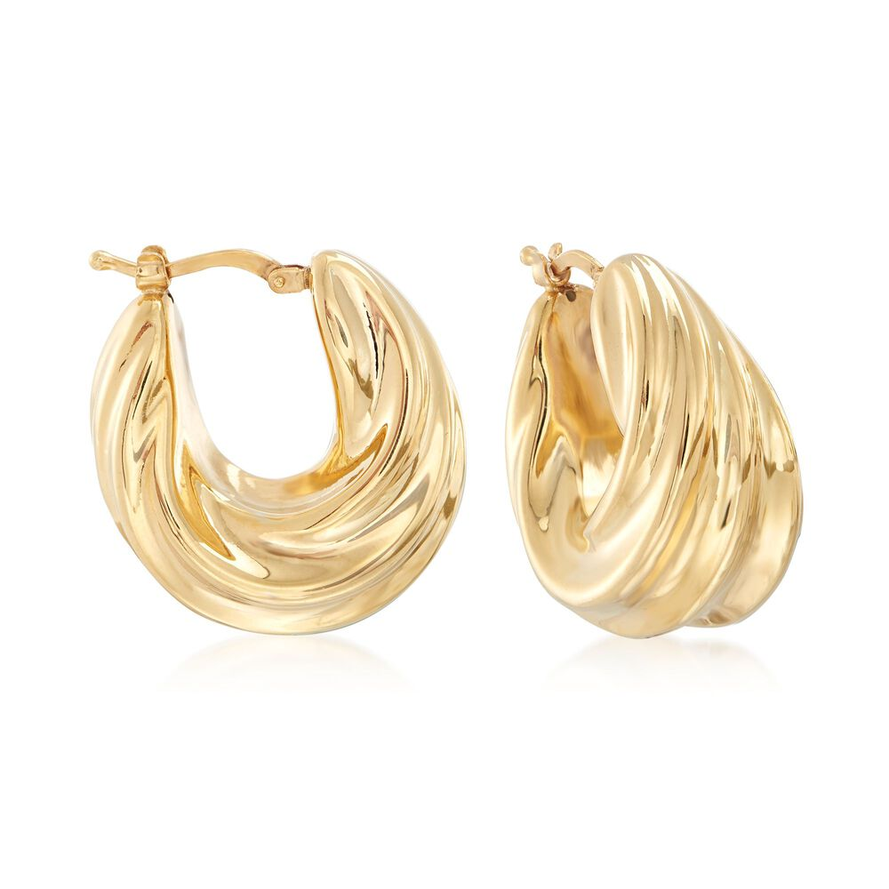 Italian 18kt Yellow Gold Over Sterling Silver Ribbed Twist Hoop Earrings 1