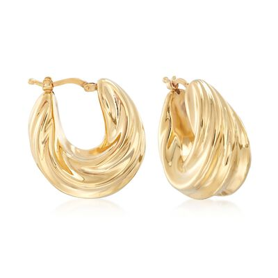 Italian 18kt Yellow Gold Over Sterling Silver Ribbed Twist Hoop Earrings, , default