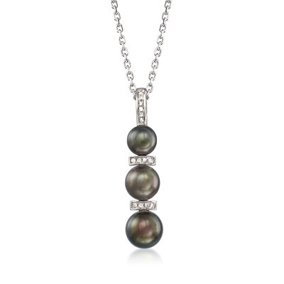 6-8.5mm Black Cultured Pearl and .10 ct. t.w. Diamond Necklace in Sterling Silver, , default