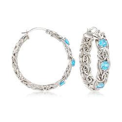 2.00 ct. t.w. Blue Topaz Byzantine Hoop Earrings in Sterling Silver, , default