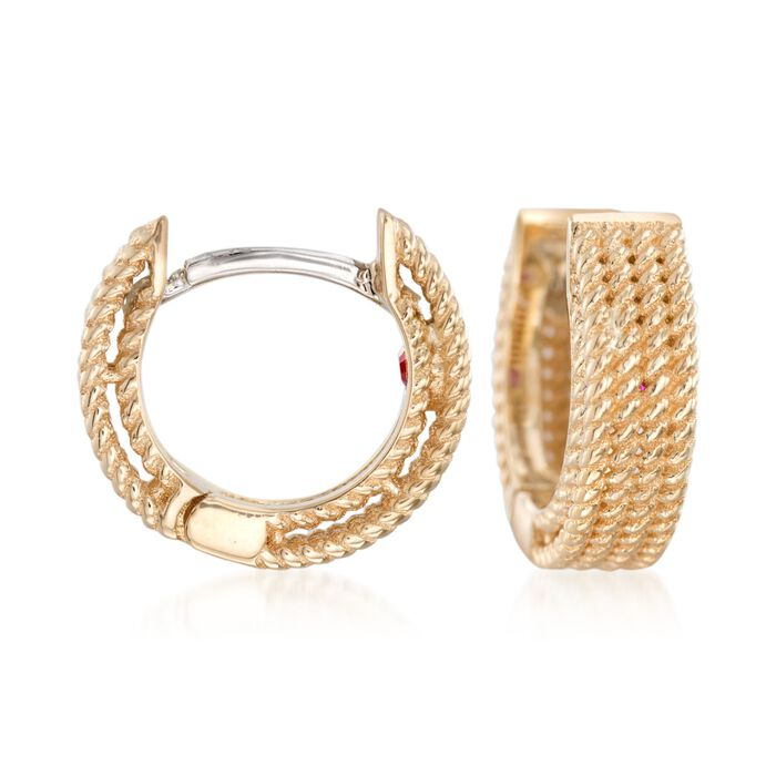 "Roberto Coin ""Symphony"" 18kt Yellow Gold Huggie Hoop Earrings. 3/8"" , , default"
