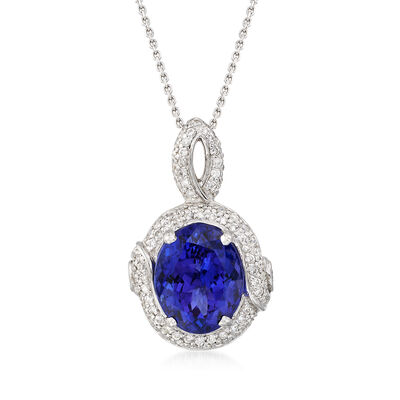 7.00 Carat Tanzanite and .85 ct. t.w. Diamond Pendant Necklace in 14kt White Gold, , default