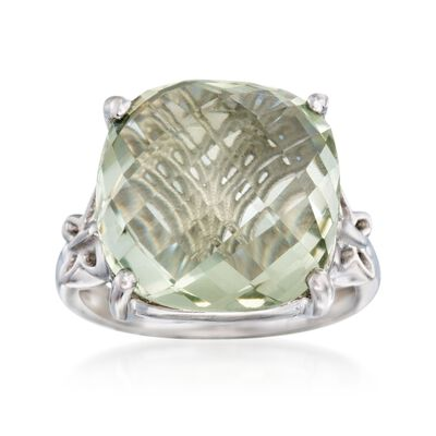 10.00 Carat Green Prasiolite Butterfly Ring in Sterling Silver, , default
