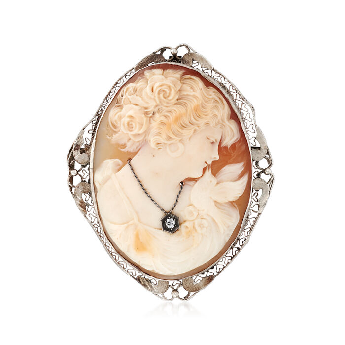 C. 1950 Vintage Pink Shell Cameo Pin/Pendant with Diamond Accent  in 14kt White Gold
