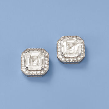 4.35 ct. t.w. CZ Stud Earrings in Sterling Silver, , default