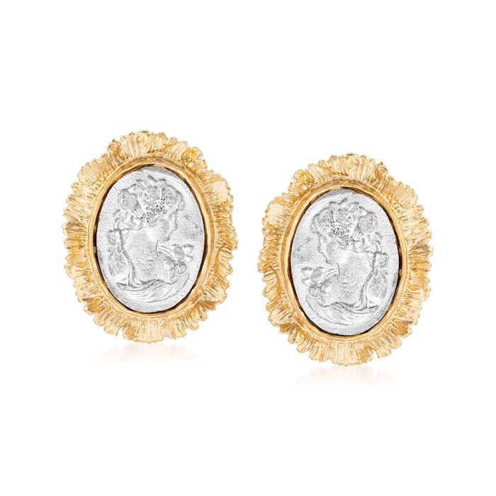 Italian Two-Tone Sterling Silver Cameo-Style Earrings, , default