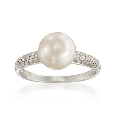 9mm Cultured Pearl and .15 ct. t.w. Diamond Ring in 14kt White Gold
