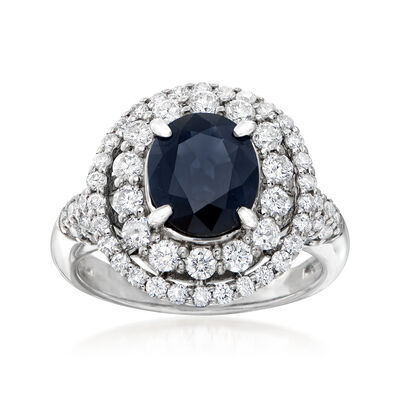 C. 1990 Vintage 2.14 Carat Sapphire and 1.09 ct. t.w. Double-Halo Diamond Ring in Platinum, , default