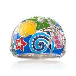 "Belle Etoile ""Starfish"" Blue and Multicolored Enamel Ring With CZs in Sterling Silver. Size 7, , default"