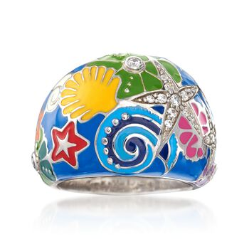 """Belle Etoile """"Starfish"""" Blue and Multicolored Enamel Ring With CZs in Sterling Silver. Size 7, , default"""