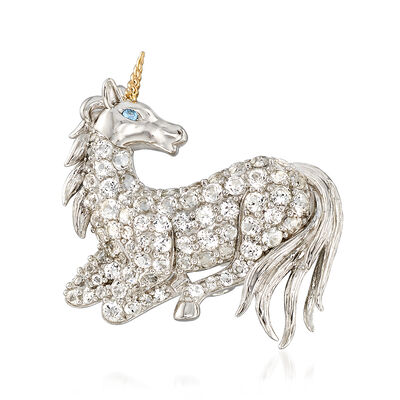 2.55 ct. t.w. White Topaz Unicorn Pin with Sky Blue Topaz and 14kt Gold in Sterling Silver, , default
