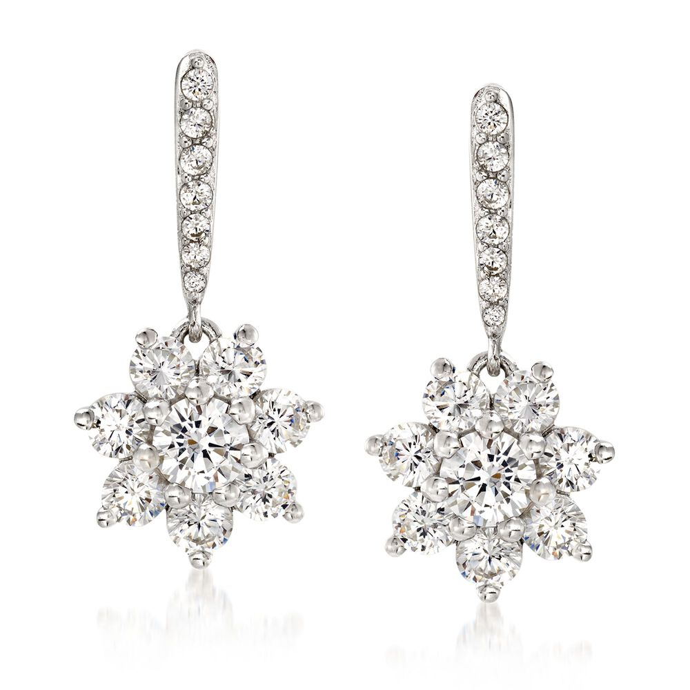 2165a9867 1.00 ct. t.w. CZ Floral Drop Earrings in Sterling Silver | Ross-Simons