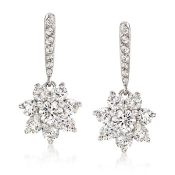 1.00 ct. t.w. CZ Floral Drop Earrings in Sterling Silver , , default