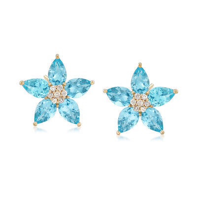 4.60 ct. t.w. Blue Topaz and .14 ct. t.w. Diamond Floral Earrings in 14kt Yellow Gold, , default