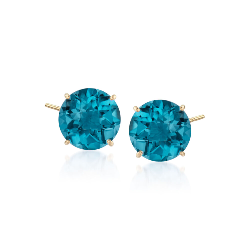 T W London Blue Topaz Earrings In 14kt Yellow Gold Default