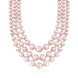 4-9mm Pink Cultured Pearl Three-Strand Necklace With 14kt Yellow Gold, , default