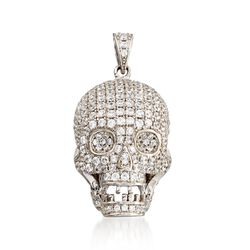 2.00 ct. t.w. Pave CZ Skull Pendant in Sterling Silver, , default