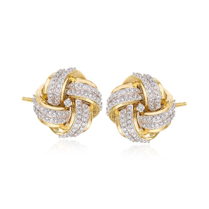 .50 ct. t.w. Diamond Love Knot Stud Earrings in 14kt Yellow Gold