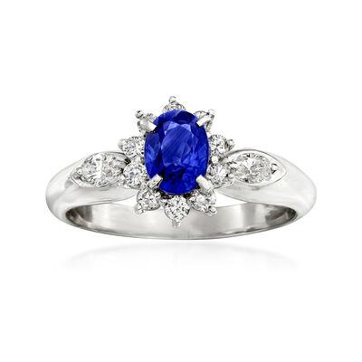 C. 1990 Vintage .84 Carat Sapphire and .41 ct. t.w. Diamond Ring in Platinum