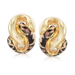 Italian Leopard Print Enamel Earrings in 18kt Gold Over Sterling, , default