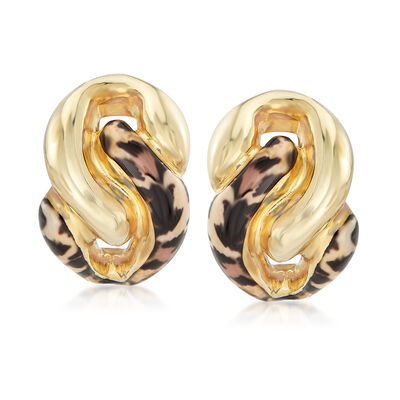 Italian Leopard Print Enamel Earrings in 18kt Gold Over Sterling, , default