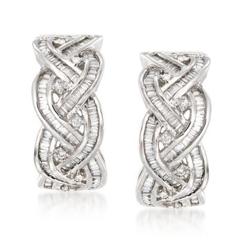 """.75 ct. t.w. Round and Baguette Diamond Braided Hoop Earrings in 14kt White Gold. 5/8"""", , default"""