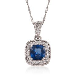 1.05 Carat Sapphire and Diamond Pendant Necklace in 14kt White Gold, , default