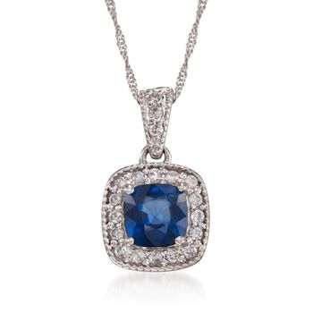 "1.05 Carat Sapphire and Diamond Pendant Necklace in 14kt White Gold. 16"", , default"